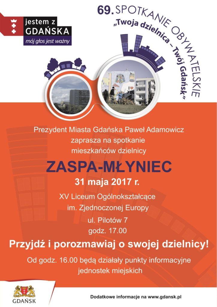 Plakat spotkanie prezydenta z mieszkańcami dzielnicy Zaspa-Młyniec