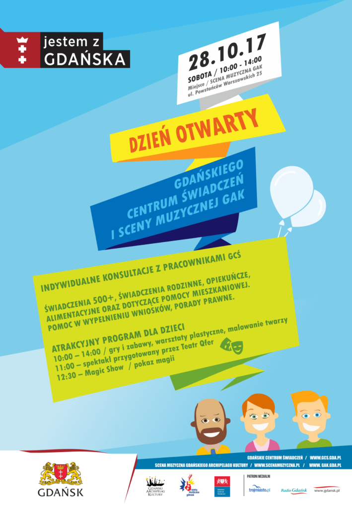Plakat Dzień Otwarty GCŚ i Sceny Muzycznej GAK