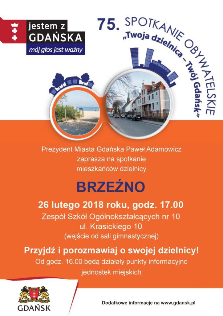 Plakat informujący o spotkaniu prezydenta Gdańska z mieszkańcami Brzeźna