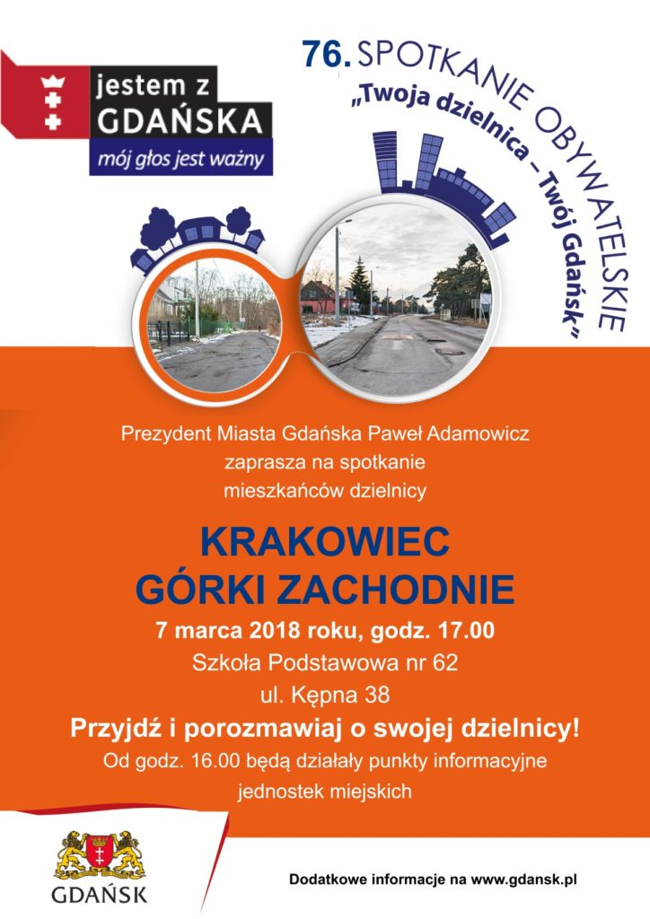Plakat informujący o spotkaniu prezydenta Gdańska z mieszkańcami