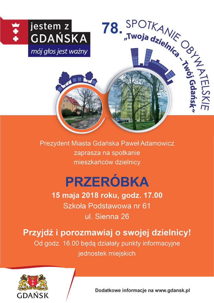 Plakat informujący o spotkani prezydenta Gdańska z mieszkańcami