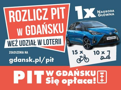 Banner przekierowujący do podstrony dotyczącej akcji PIT w Gdańsku