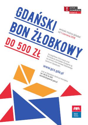 Plakat dotyczący Gdańskiego Bonu Żłobkowego.