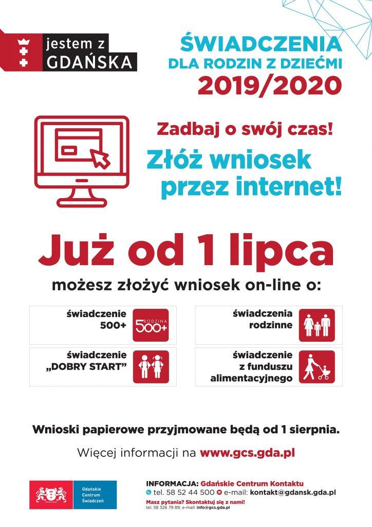 Plakat informujący o rozpoczęciu akcji przyjmowania wniosków