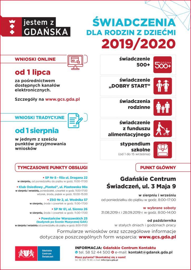 Plakat informujący o akcji przyjmowania wniosków na nowy okres świadczeniowy