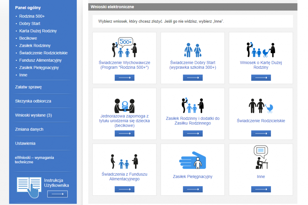 Widok wybory wniosku w portalu Emp@tia