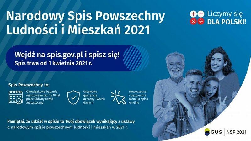 Infografika dotycząca Narodowego Spisu Powszechnego Ludności i Mieszkań.