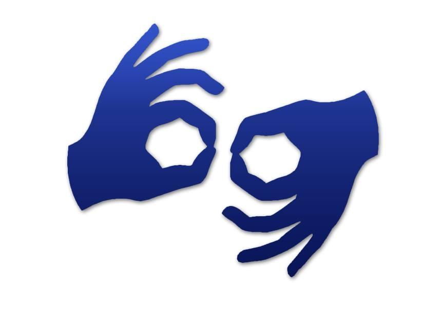 Piktogram symbolizujący język migowy. Kliknięcie przekierowuje do strony z usługą tłumacza języka migowego on-line.